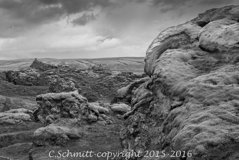 Pyasage de mousses à cascade Holaskjoll sud Islande photo noir et blanc