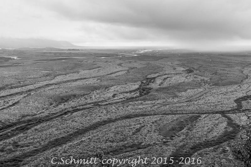 Paysages entre Skaftafell et la côte sud Islande photo noir et blanc