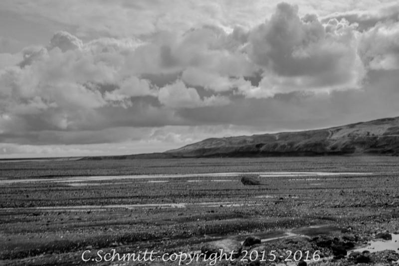 La piste F208 vers le Laki cotoie des plaines immenses ou sandurs sud Islande photo noir et blanc
