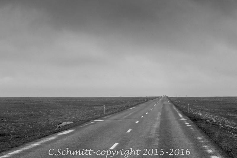 route RN1 après Myvatn centre Islande photo noir et blanc